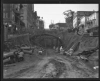 Construction of 2nd Street Tunnel at Hill Street, Los Angeles, ca. 1921