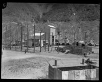 View of construction site for rebuilding of the Bureau of Power and Light's Power House #2, San Francisquito Canyon, 1928