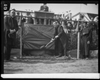 Rev. John J. Cantwell breaks ground at Loyola College, Los Angeles, 1928