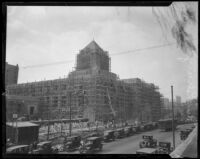 View of the Los Angeles Public Library's Central Library under construction, Los Angeles, about 1925