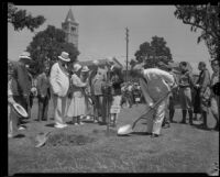 Governor James Rolph plants tree at Olympic Park dedication ceremony, Los Angeles, 1932