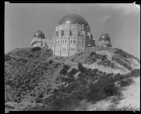 Griffith Observatory, exterior view from below, Los Angeles, circa 1934-1935
