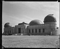 Griffith Observatory, exterior view during construction, Los Angeles, circa 1934-1935