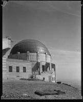Griffith Observatory, exterior view of the central dome during construction, Los Angeles, circa 1934-1935