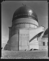 Griffith Observatory, exterior view of the west dome during construction, Los Angeles, circa 1934-1935