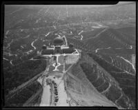 Griffith Observatory near completion, bird's-eye view facing south, Los Angeles, 1935