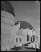 Griffith Observatory, exterior view of the west and central domes the during construction, Los Angeles, circa 1934-1935