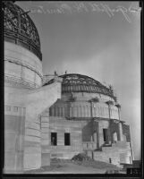 Griffith Observatory, exterior view of the west and central domes during construction, Los Angeles, circa 1934-1935