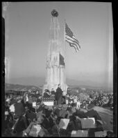 Dr. Frederick C. Leonard speaks at the dedication ceremony for the Astronomers Monument at Griffith Park, Los Angeles, 1934