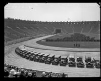 Panorama (left half) of a police inspection at the Los Angeles Memorial Coliseum, Los Angeles, 1927
