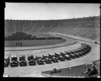 Panorama (right half) of a police inspection at the Los Angeles Memorial Coliseum, Los Angeles, 1927