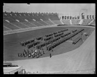 Elevated view of the annual police inspection at Los Angeles Memorial Coliseum, Los Angeles, 1927