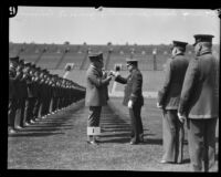 Chief Davis inspecting police at Los Angeles Memorial Coliseum, Los Angeles, 1927
