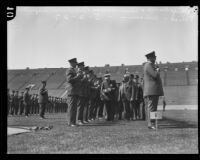 Chief Davis and Commissioner Birnbaum inspect police at Los Angeles Memorial Coliseum, Los Angeles, 1927