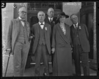 Gathering of medical professionals Dr. Granville MacGowan, Dr. T. C. Edwards, Dr. James H. Parkinson, Dr. William H. Kiger, and Dr. Emma Pope, Los Angeles, 1924
