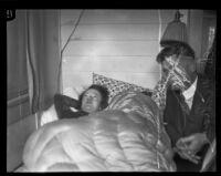 Detective Lieutenant Frank Condaffer with a bedridden Dorothy Mackaye, Los Angeles, 1927