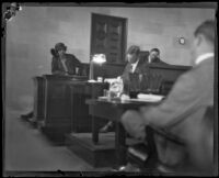 Charlotte Ethel Lee takes the witness stand beside Judge Charles S. Burnell, Los Angeles, 1927