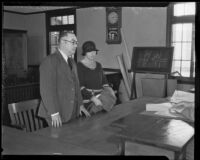 Attorney Frank Ryan and murder suspect Nellie Madison in court, Los Angeles, 1934