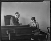 Deputy Coroner Frank Montfort questions Nellie Madison, Los Angeles, 1934