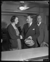 Murder suspect Nellie Madison meets with ex-husband William J. Brown at County Jail, Los Angeles, 1934