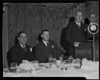 Rabbi Edgar F. Magnin, H. Carlton Newton, Martin H. Carmody, and John T. Donohue at Advertising Club luncheon, Los Angeles, 1933