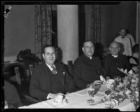 Rabbi Edgar F. Magnin, Archbishop John Joseph Cantwell, and Bishop William Bertrand Stevens, Los Angeles, circa 1935