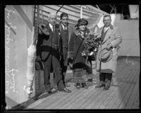 Carlo Marchetti, Joseph Marchetti, Emma Marchetti, and Roger Marchetti on board the Finland, San Pedro, 1926