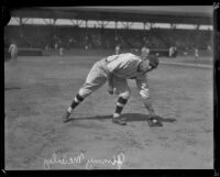 Jimmy McAuley fielding a ground ball, Los Angeles, 1920-1925