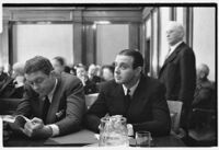 David Mdivani and Serge Mdivani sit in court on the opening day of their trial, Los Angeles, 1934