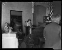 Lorraine Wiseman at the McPherson trial, Los Angeles, 1926