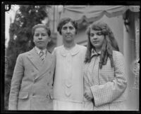Aimee Semple McPherson's secretary Emma Shaffer, Roberta Semple, and Rolf McPherson, Los Angeles, 1926