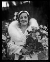 Mary McCormic jests about her former marriage to Prince Serge Mdivani, Los Angeles, 1935