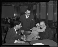 Leonard Meyberg, Mark F. Jones, Velma McKnight and James McKnight in court, Los Angeles, 1932