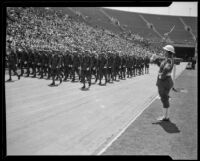 Military officials march in the Memorial Day parade at the Coliseum, Los Angeles, 1934