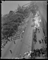 Marching band plays in Memorial Day parade, Los Angeles, 1932