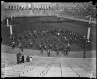 High school bands at Los Angeles Memorial Coliseum for Memorial Day festivities, Los Angeles, 1929