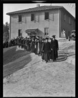W. O. Mendenhall inaugurated as president of Whittier College in ceremony, Whittier, 1934