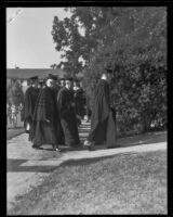 Inauguration ceremony for new college president W. O. Mendenhall, Whittier, 1934