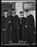 William O. Mendehall, C. Bevan Johnson, Lou Henry Hoover, and Dr. Robert L. Kelly dressed for a graduation ceremony, Whittier, 1934