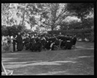 Dr. Robert L. Kelly delivers speech at W. O. Mendenhall's inauguration ceremony, Whittier, 1934