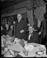 Governor Frank Merriam and Charles A. Bullreich at a luncheon, Los Angeles, between 1934-1939 (?)
