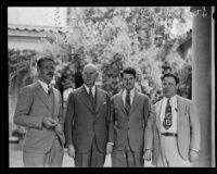 Dr. Clark B. Millikan, Major General James B. Allison, Dr. Irving Krick, and Dr. A.L. Klein pose together, Pasadena, 1935