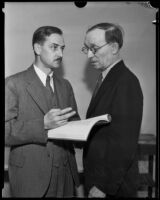 Howard D. Mills and William M. Kerr investigate ballot box stuffing, Los Angeles, 1934