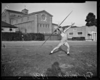 Trojan Tex Milner demonstrates a javelin throw, Los Angeles, 1935