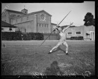 Trojan Tex Milner demonstrates a javelin throw, Los Angeles, 1935