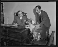 Henry Bellows presents his dog to Frank Nance, Los Angeles, 1935
