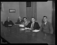 Martin C. Neuner is named president of police commission and sworn in with fellow commission members, Los Angeles, 1933-1934