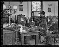 Gordon Stewart Northcott and mother Sara Louisa Northcott in court, Riverside, circa 1928