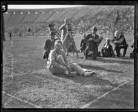 Paavo Nurmi prepares for track meet at the Coliseum, Los Angeles, 1925