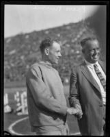 Paavo Nurmi before track meet at Coliseum, Los Angeles, 1925